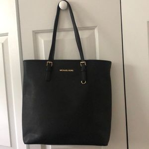 Michael Michael Kros black leather 3-layer tote
